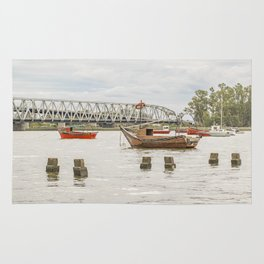Boats at Santa Lucia River in Montevideo Uruguay Rug