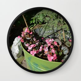 Sun kissed Garden Angel and Begonias Wall Clock