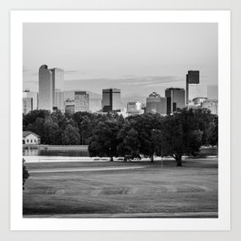 Denver Skyline in BW Monochrome Art Print