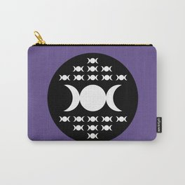 Triple Moon Goddess - White, Black and Ultra Violet Carry-All Pouch