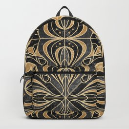 Art Deco Floral. Gold and Marble Backpack