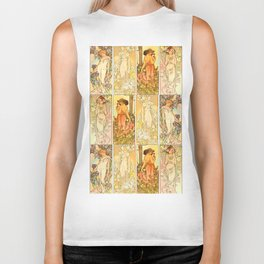 "Alphonse Mucha ""The Flowers (series): Iris, Lily, Carnation, Rose"" Biker Tank"