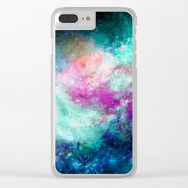 Teal Galaxy Clear iPhone Case
