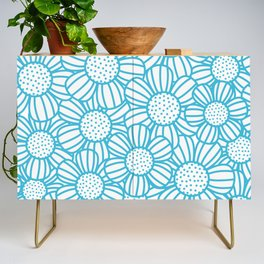 Field of daisies - teal Credenza
