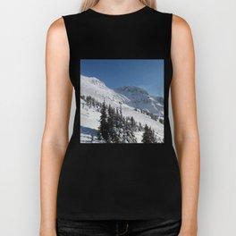 Mountains color palette of white-black-blue Biker Tank