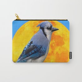 BLUE JAY & GOLDEN MOONSCAPE  ABSTRACT Carry-All Pouch