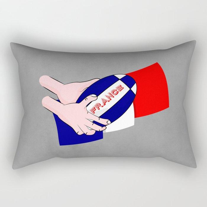 France Rugby Ball Flag Rectangular Pillow