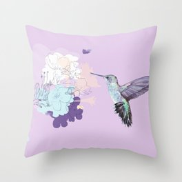 Lavender hummingbird and flower watercolor Throw Pillow