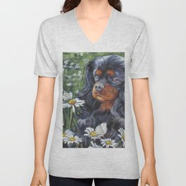 Black and Tan Cavalier King Charles Spaniel painting by L.A.Shepard Unisex V-Neck