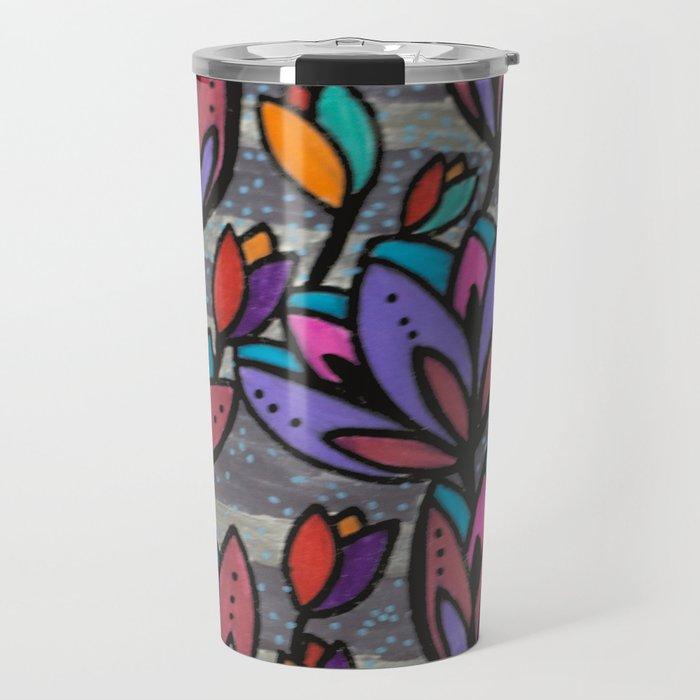 Cinza e Roxo Travel Mug