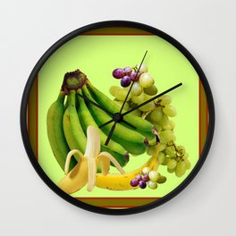 YELLOW-GREEN BANANAS GREEN GRAPES ART DESIGN Wall Clock