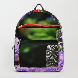 Red Dragonfly on Violet Purple Flowers Backpack