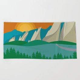 Boulder, Colorado - Skyline Illustration by Loose Petals Beach Towel