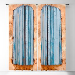 Blue Shutters ~ Old World French Architecture Travel Photography Bluish Accent Wood Grain Blackout Curtain