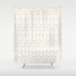 Decorative Plumes - White on Cream Shower Curtain