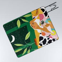 Moon Lover #illustration #feminism Picnic Blanket
