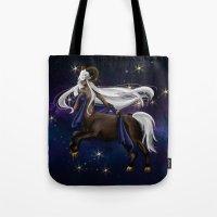 zodiac Tote Bags featuring Zodiac by Aoi Hikari Arts