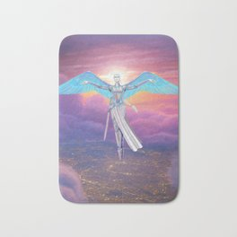 Guardian Angel Flying Above City Bath Mat