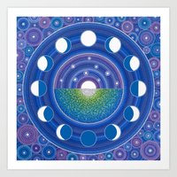 moon phase Art Prints featuring Moon Phase Mandala by Elspeth McLean
