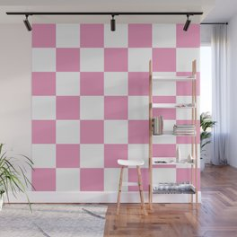 Large Light Pink Checkerboard Pattern Wall Mural