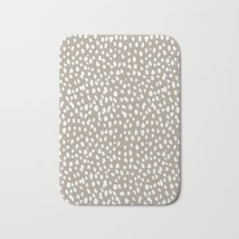 White on Dark Taupe spots Bath Mat