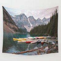 caleb troy Wall Tapestries featuring Lake Moraine by Caleb Troy