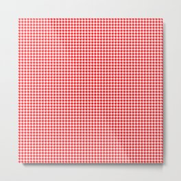 Christmas Red and White Houndstooth Check Metal Print