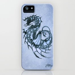 """Tsunami"" by Amber Marine ~ Sea Dragon (Ice Blue Version) ~ Graphite Illustration, (Copyright 2005) iPhone Case"