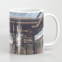 pocket fuel Mugs featuring Fuel Station by Dave Rasura