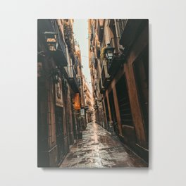 Barcelona Alley | Tilted Alleyway Streets in the City High Buildings Charming Moody Architecture  Metal Print