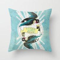 swallow Throw Pillows featuring Swallow by Chiara Sgatti