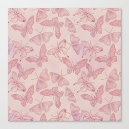 Butterfly Pattern soft pink pastel Canvas Print