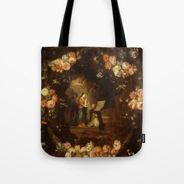 """Jan van Kessel """"Madonna with the Child Framed with a Garland of Flowers"""" Tote Bag"""
