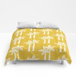 Palm Tree Pattern Mustard Yellow Comforters