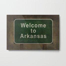 Welcome to Arkansas roadside sign illustration Metal Print
