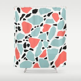 Living Coral and Light Blue Terrazzo Shower Curtain