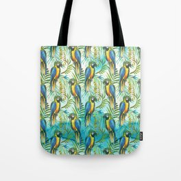 Watercolor blue yellow tropical parrot bird floral Tote Bag