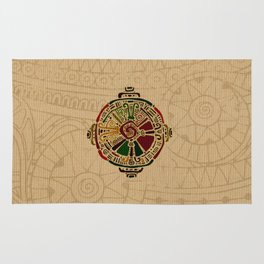 Colorful Hunab Ku Mayan symbol on cotton Rug