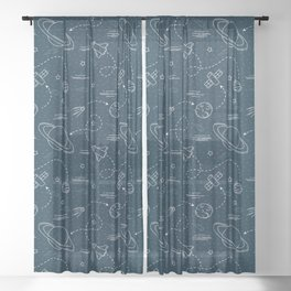 Retro Space Pattern 1 Sheer Curtain