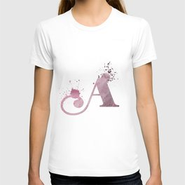 """""""A"""" Watercolour Initial Typography Letter Illustration Hand Made T-shirt"""