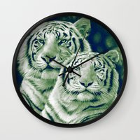 tigers Wall Clocks featuring Two Tigers by Thubakabra