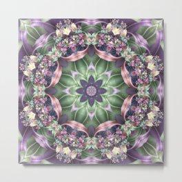 Fractal Ribbon Mandala in Purple, Green, Pink and Yellow Metal Print