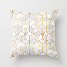 White Cubes Throw Pillow