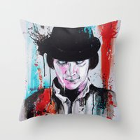 clockwork orange Throw Pillows featuring A Clockwork Orange - ALEX by Denise Esposito