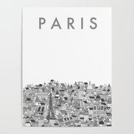 Paris (black and white version) Poster
