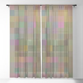 geometric square pixel pattern abstract in green pink yellow Sheer Curtain