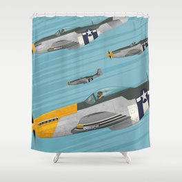 P51 Mustang Flying in Formation Shower Curtain