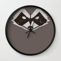 rocket raccoon Wall Clocks featuring Rocket Raccoon - Log Trap by d00d it's jake