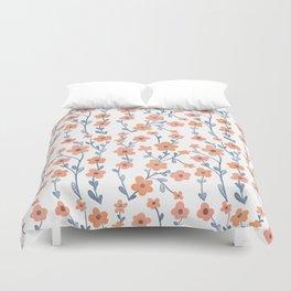 Orange Blue Foral Pattern Duvet Cover