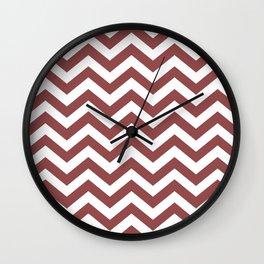 Chevron Zig Zag Pattern: Rustic Red Wall Clock